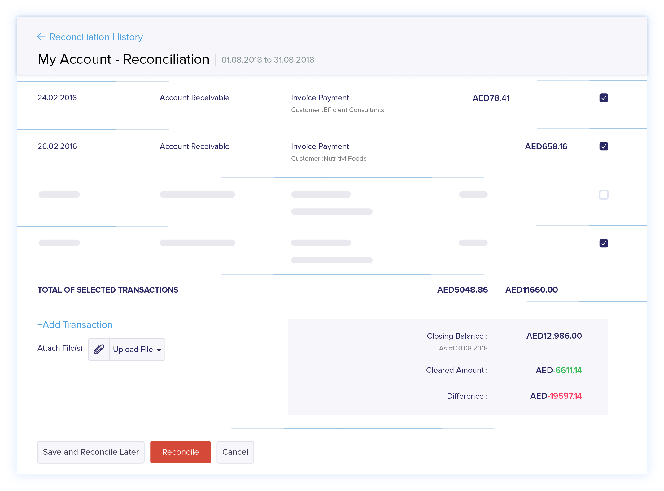 Streamline bank reconciliation
