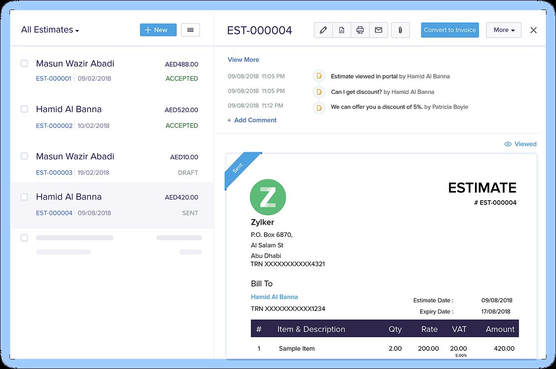 Negotiate Estimates - Invoice & Estimate App | Zoho Books