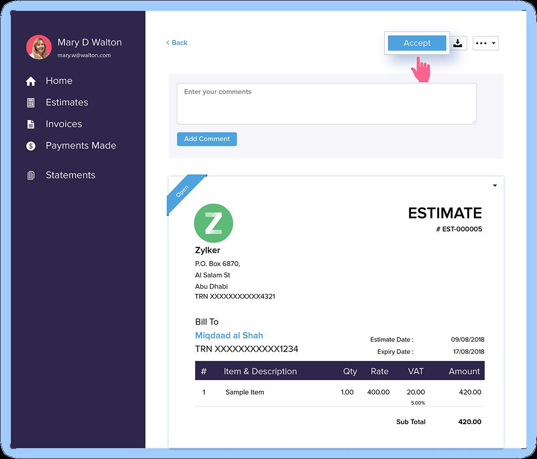 Approve Estimates - Estimate & Invoice Software | Zoho Books