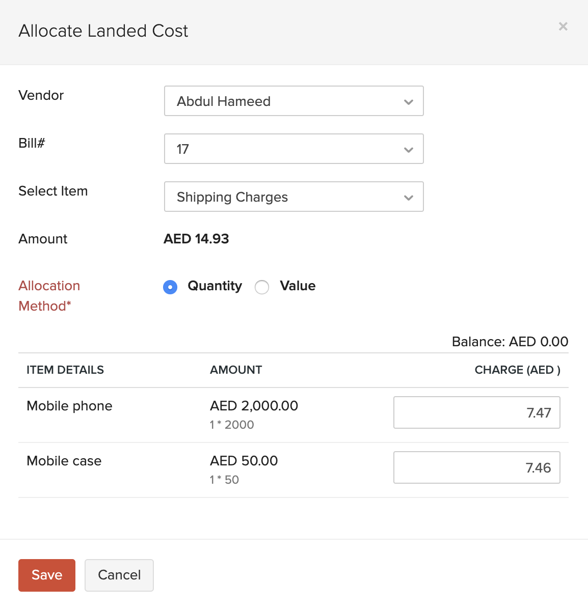 Allocate Landed Costs