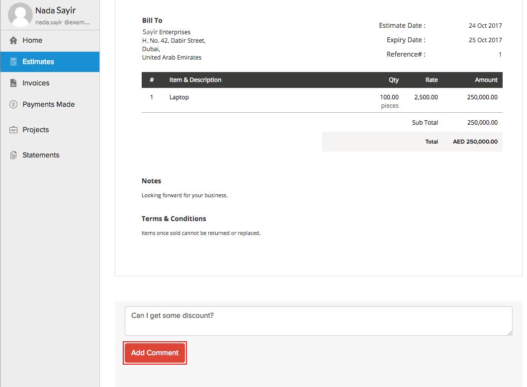Client comment in Client portal