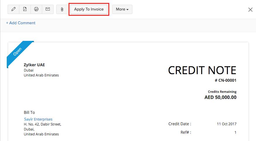 Applying credits to invoice