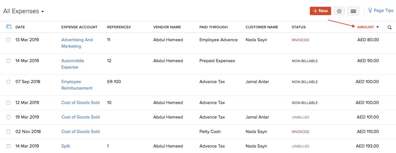 Sort Expenses