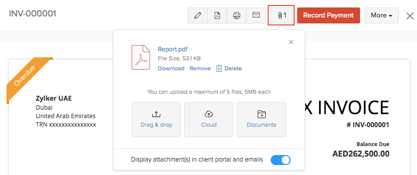 Attach Files To invoice
