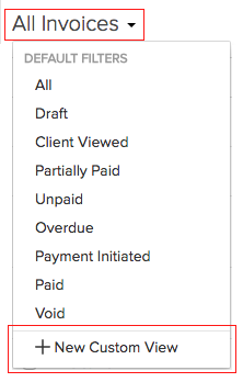 Custom view of invoices