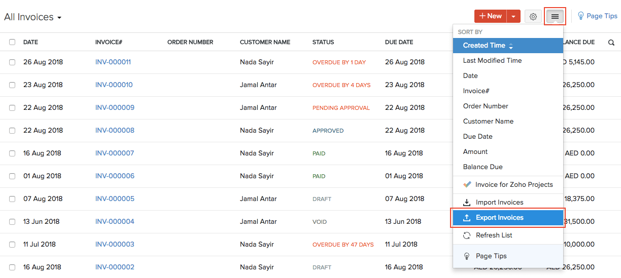 Export Invoices