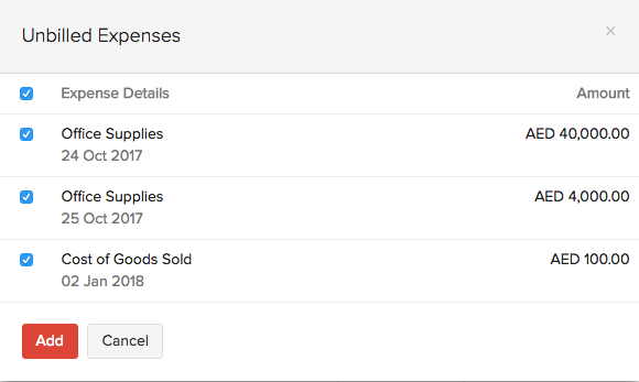 Unbilled expenses in invoices