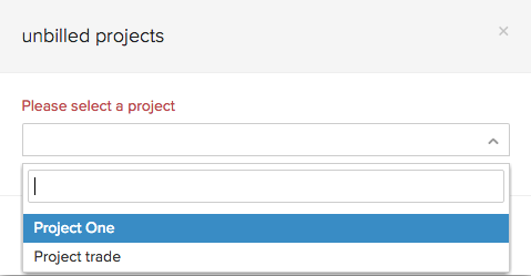Unbilled projects in invoices