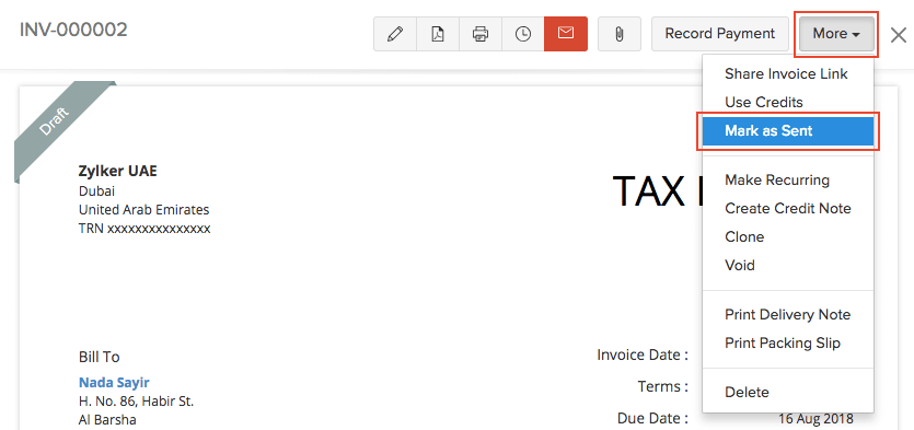 Mark as Sent