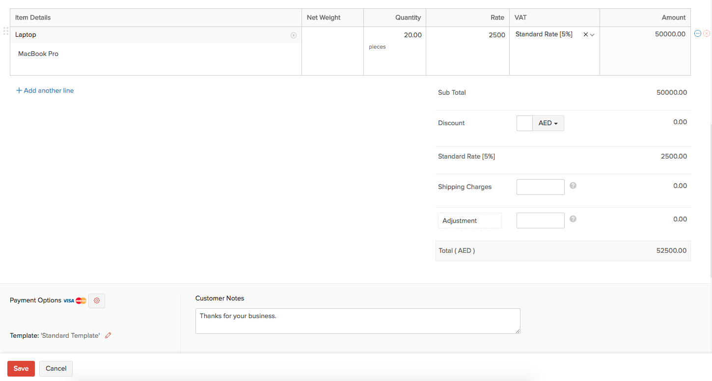 Items in Recurring invoice