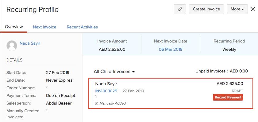 Recurring Invoice Details