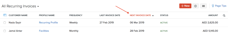 Sort Recurring Invoices
