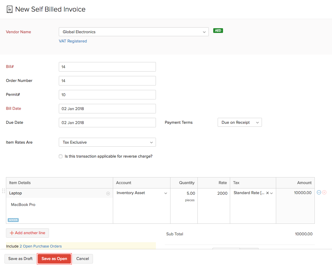 Self Billed Invoices Help Zoho Books