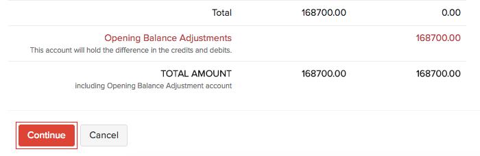 Confirm Opening Balances