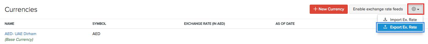 Export Exchange Rates
