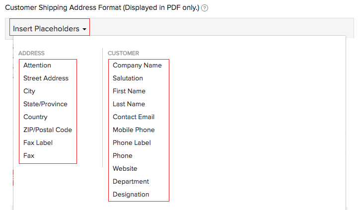 Customer Shipping Address Format