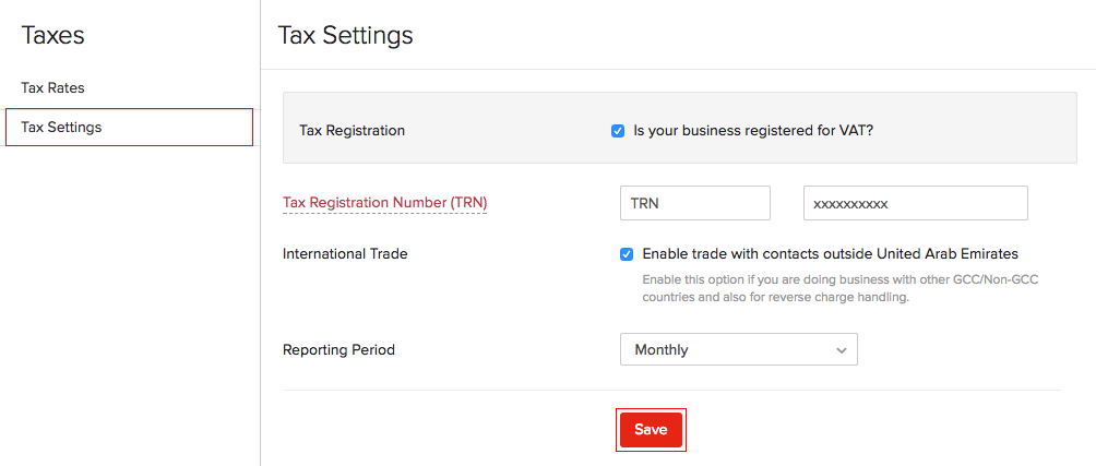 Enable Tax Settings
