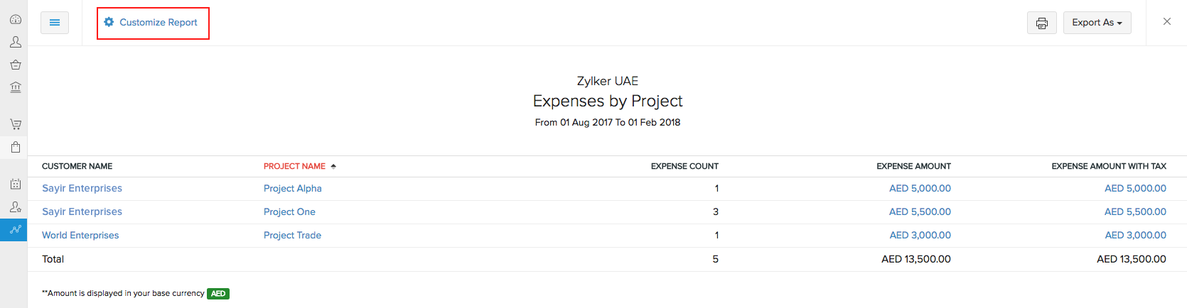 Expenses by project report