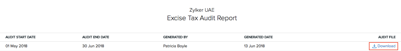 Excise Tax Audit Report
