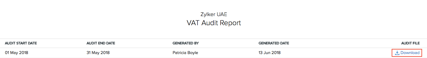 VAT Audit Report
