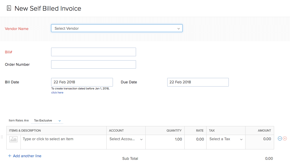 Self Billed Invoices User Guide Zoho Inventory - Invoice bill