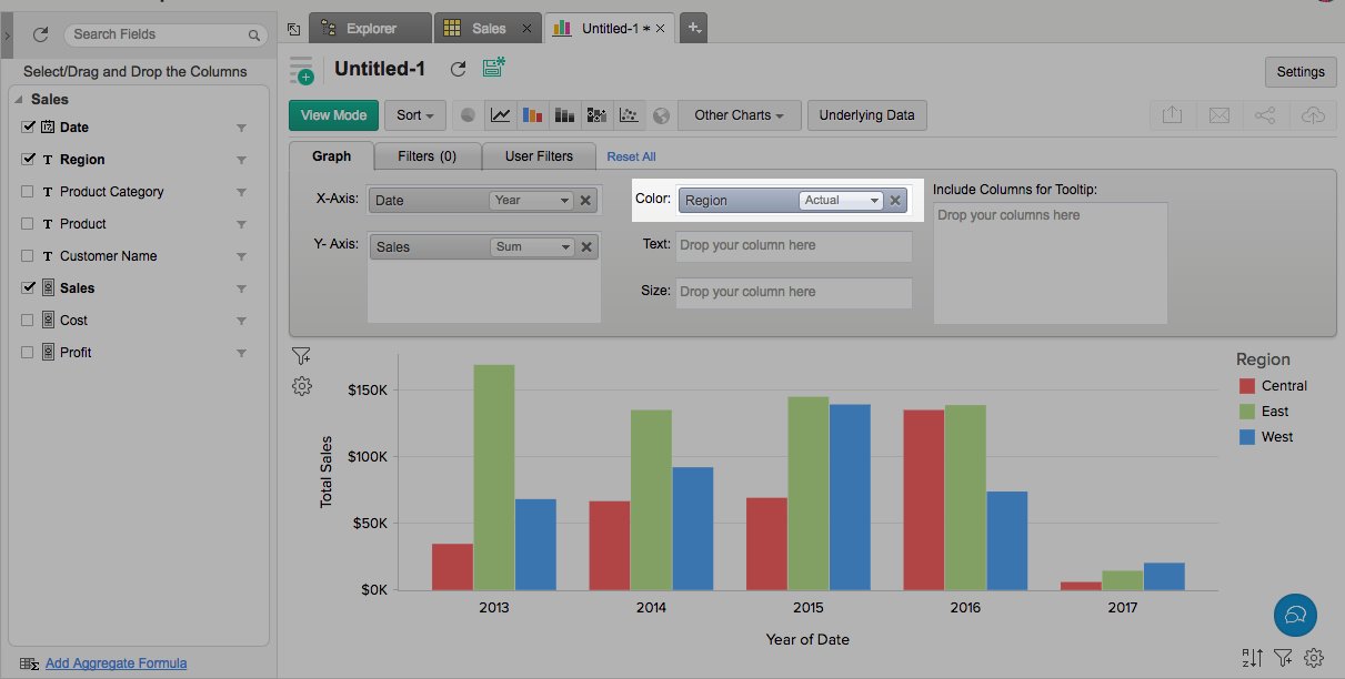 Creating A Charts L Zoho Reports Help