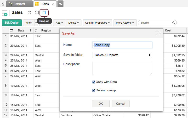Working With Tables L Zoho Reports Help
