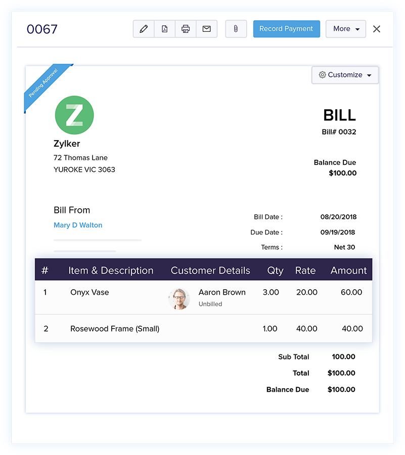 Associate Customers with Bills - Online Billing Management Software | Zoho Books