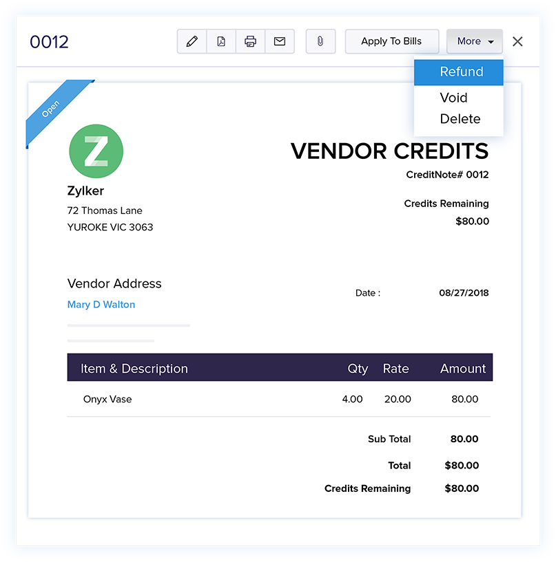Vendor Credits - Online Billing Management Software | Zoho Books