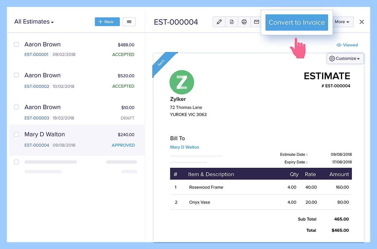 Estimate Convertion to Invoice - Estimate Management Software | Zoho Books