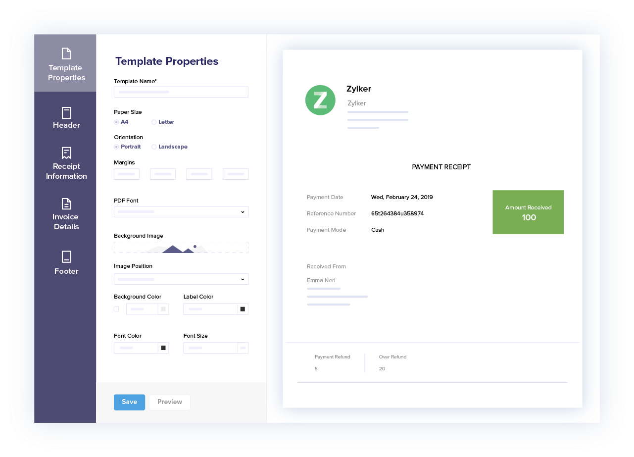 Customize Payment Receipts - Accept Credit Card Payments Online | Zoho Books