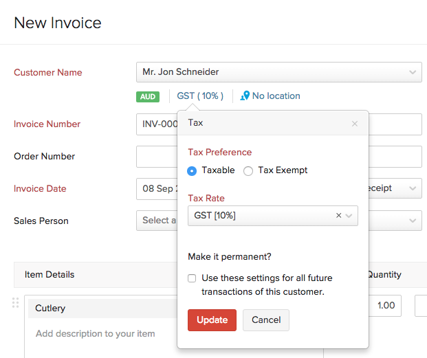 Tax Information in Invoice