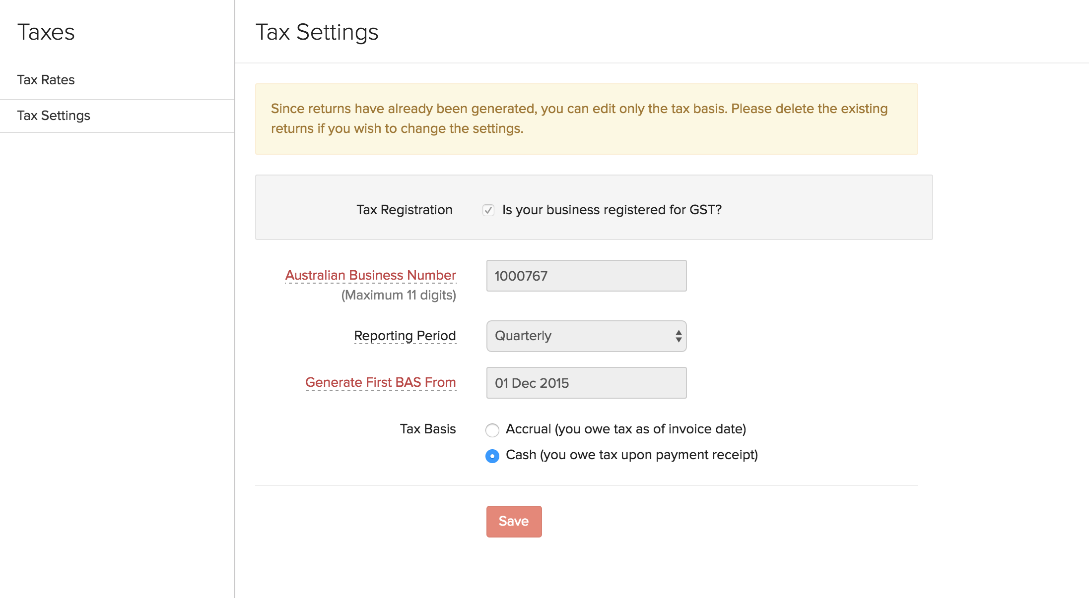 Tax Basis in Settings
