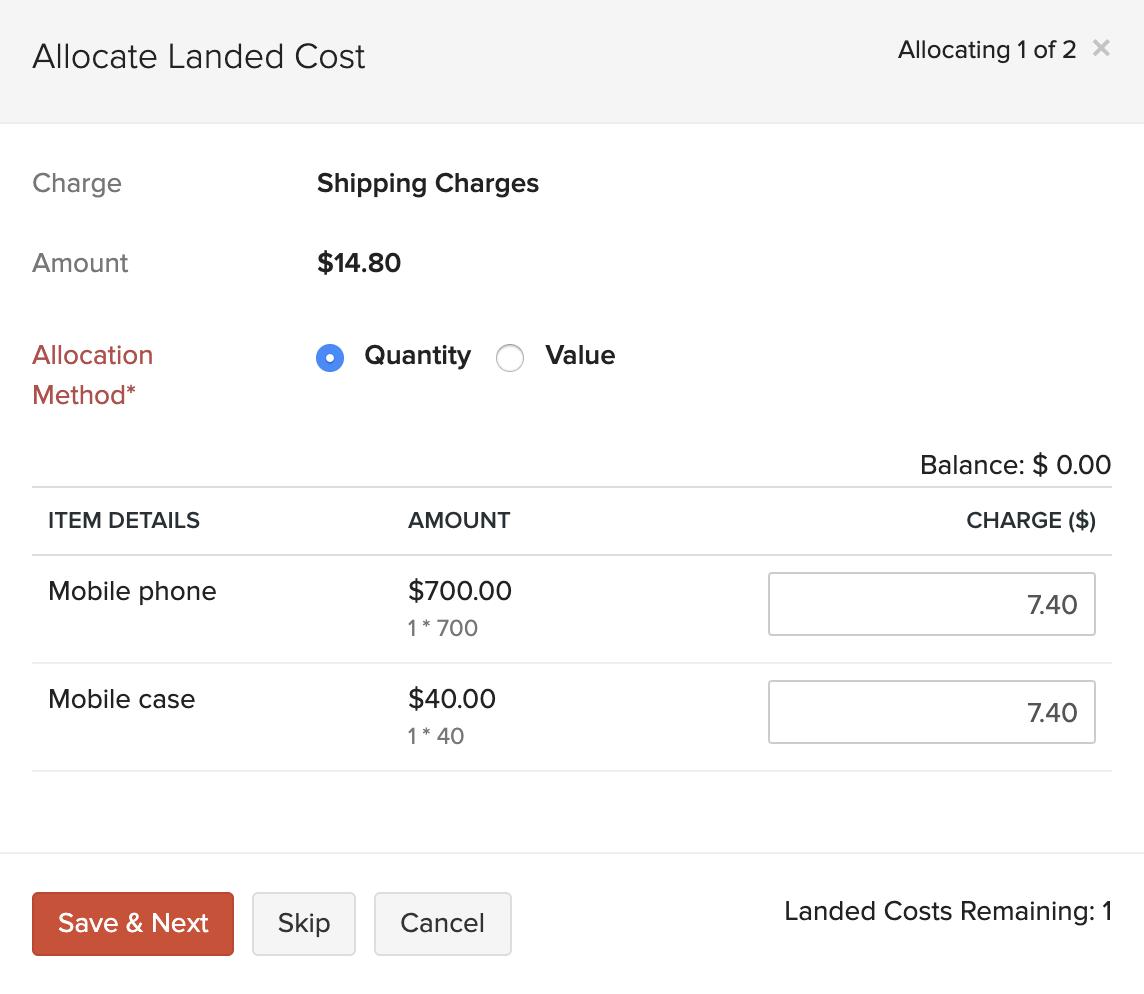 Landed Costs in Bills