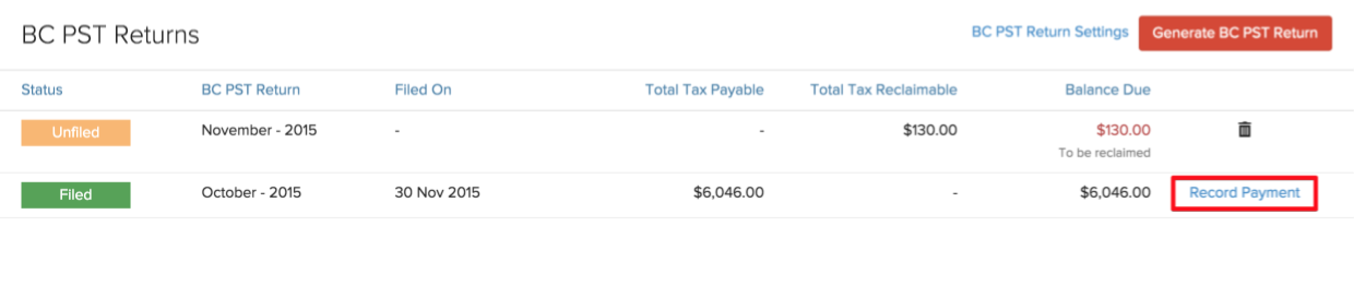 Record Payment 1