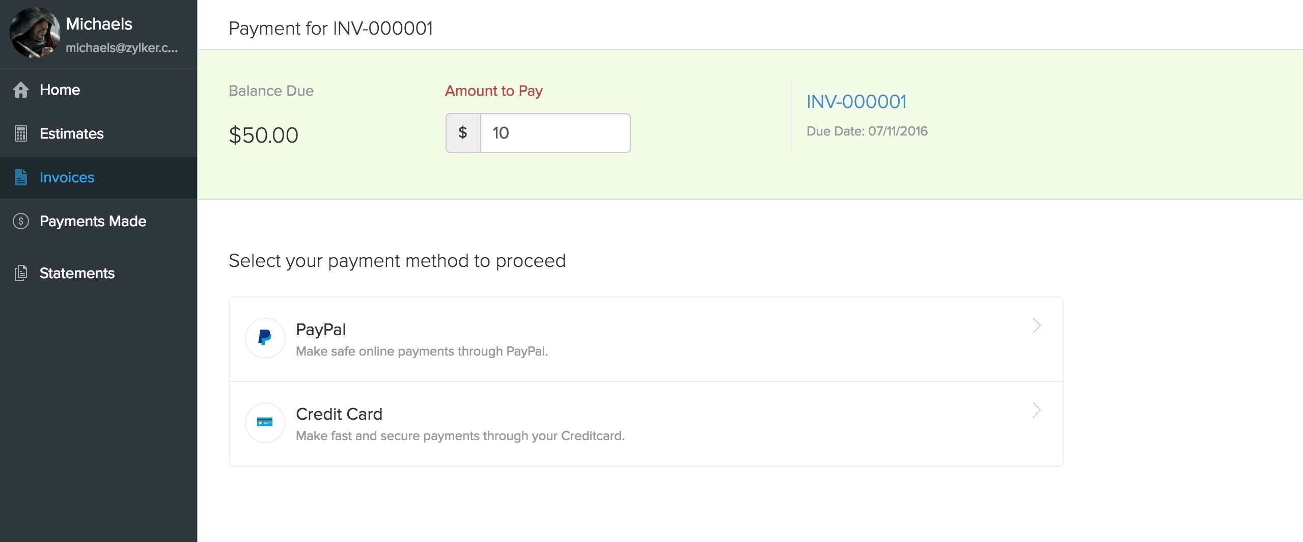 Payment Gateway screen