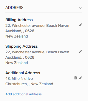 Additional address view