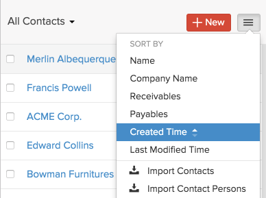 Import contacts dropdown