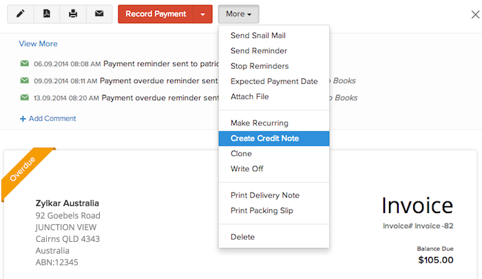 Creating a credit note