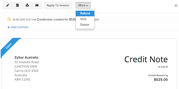 Credit Note User Guide – Credit Note Form