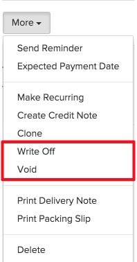 Writing Off and Voiding an Invoice