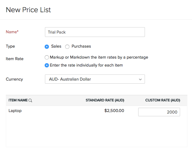 New Price List