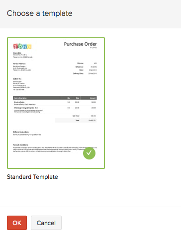 Changing template in purchase order