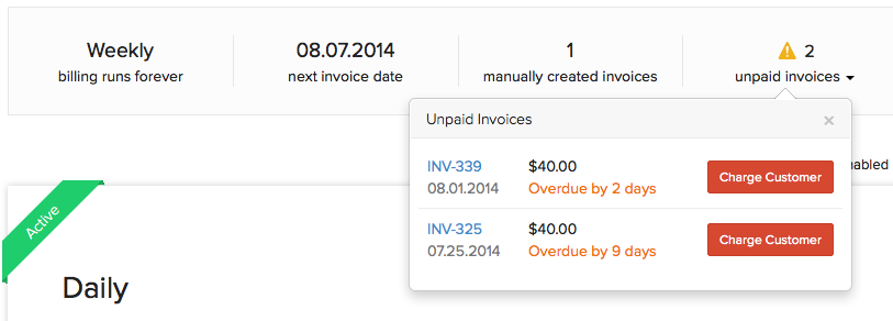 Unpaid invoice charge customer