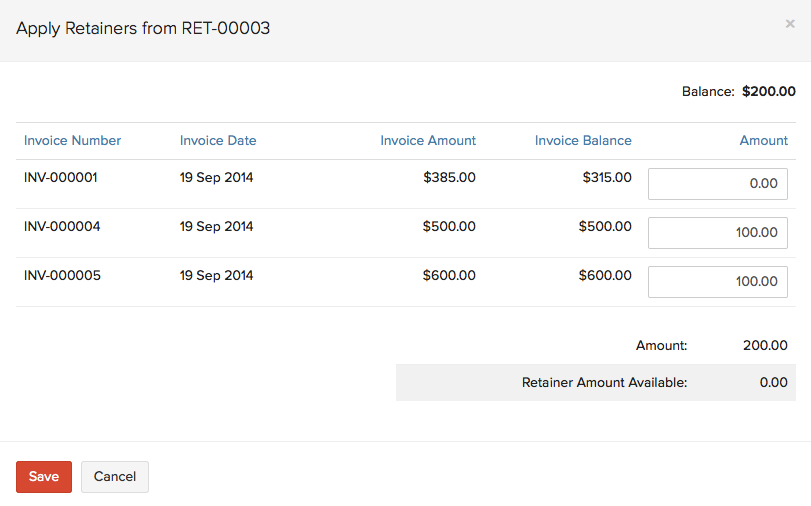 Retainer to Multiple Invoice