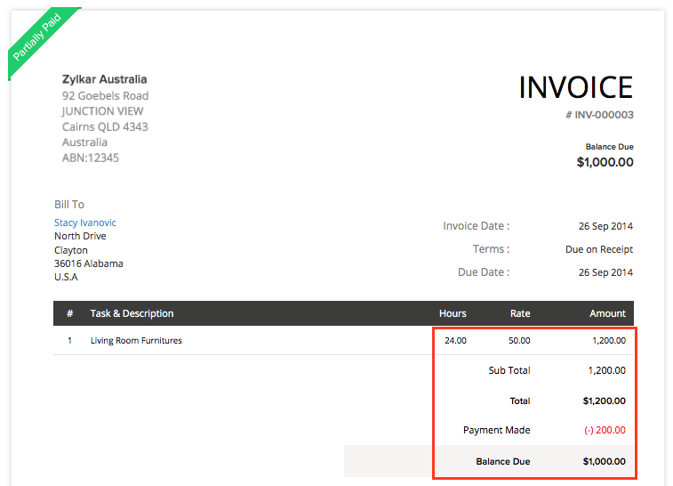 Invoice for Project