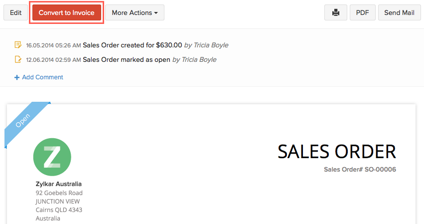 Converting sales order to invoice