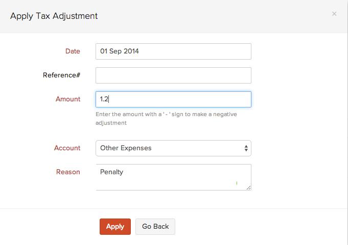 Apply tax adjustment