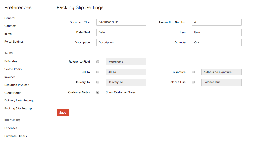 Packing Slip Settings Preferences