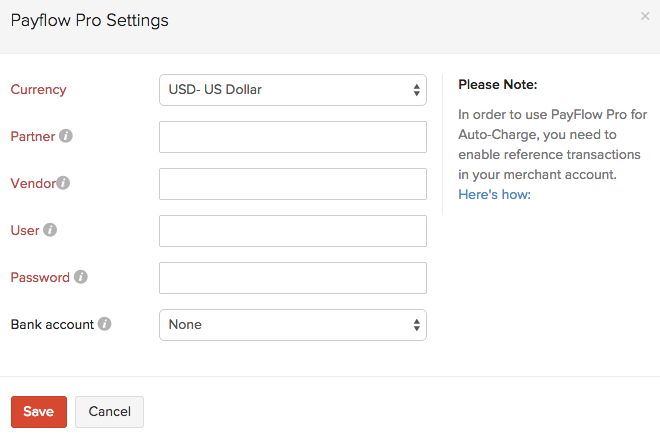 Setting up PayFlow Pro